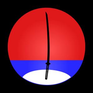 Símbolo do Ike Dojo, representando o pôr-do-sol (vermelho) e o reflexo da lua (branco) no lago (azul)